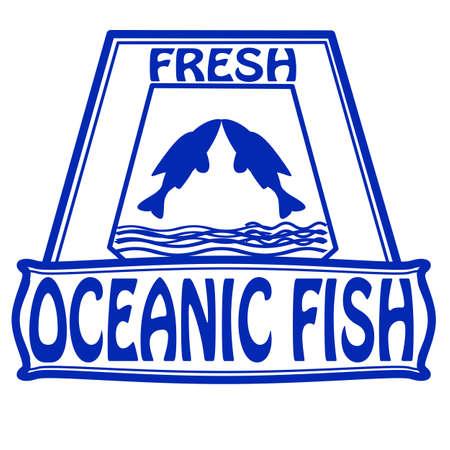 대양의: 그림 안에 텍스트 해양 물고기와 스탬프 일러스트
