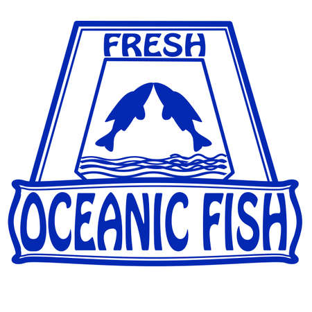 oceanic: Stamp with text oceanic fish inside illustration