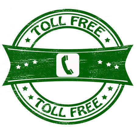 toll: Stamp with text toll free inside illustration Illustration