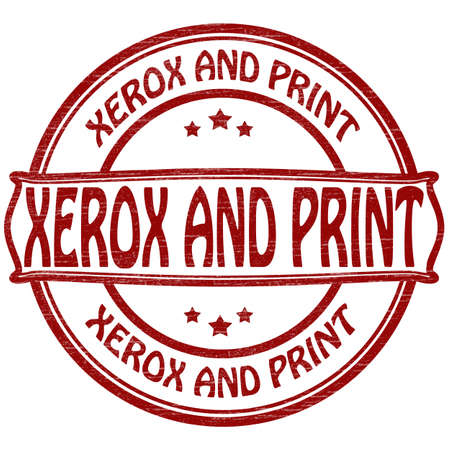xerox: Stamp with text xerox and print inside illustration