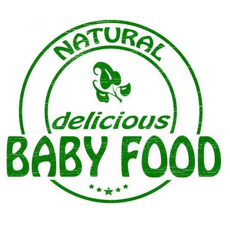 lifelike: Stamp with text baby food inside illustration