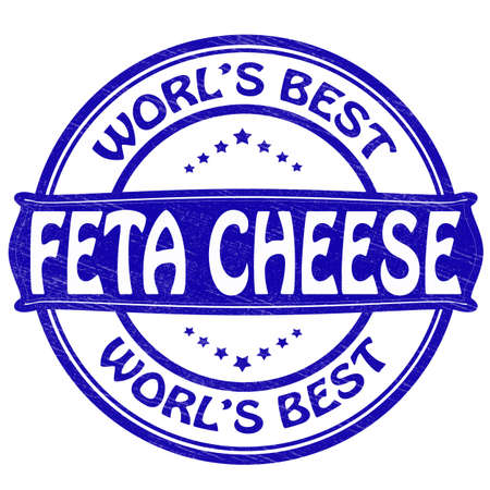 Stamp with text feta cheese inside illustration