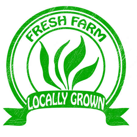 grown: Stamp with text locally grown inside illustration