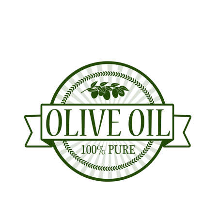 mere: Stamp with text olive oil inside, vector illustration Illustration