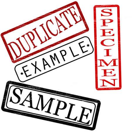provexemplar: Uppsättning av frimärken med ord duplicera, exempelvis, prov och prov inne, vektor illustration Illustration