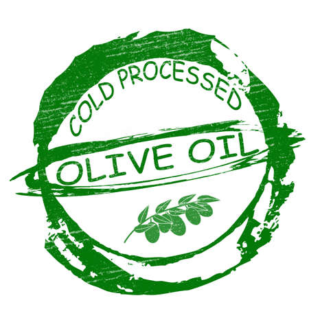 processed food: Stamp with text olive oil inside, vector illustration Illustration