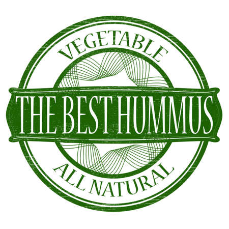 lifelike: Stamp with text the best hummus inside, vector illustration