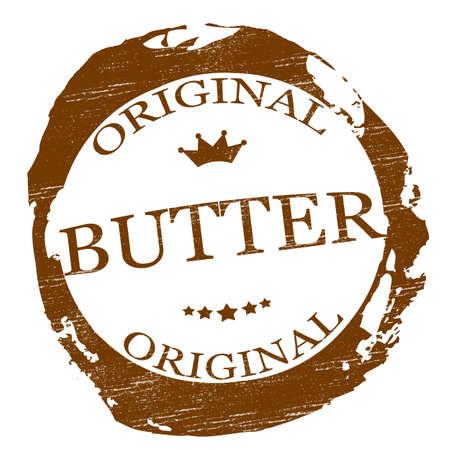 Selo com manteiga palavra dentro, ilustra Ilustração