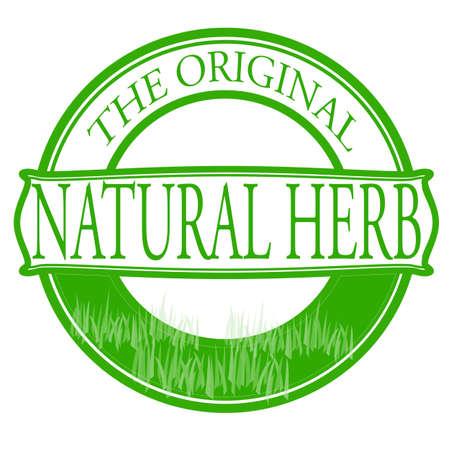 innate: Timbro con testo di erba naturale dentro, illustrazione vettoriale Vettoriali