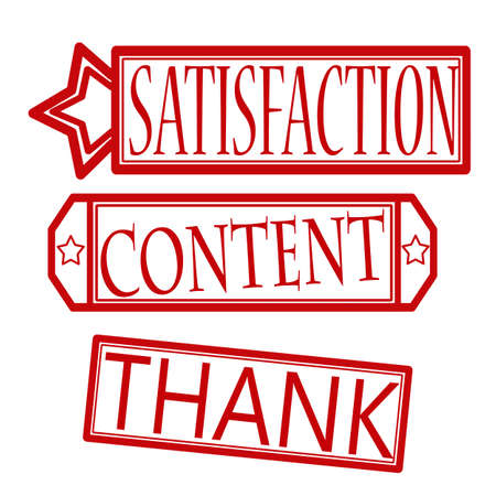contentment: Set of stamps with words satisfaction,content and thank inside, vector illustration