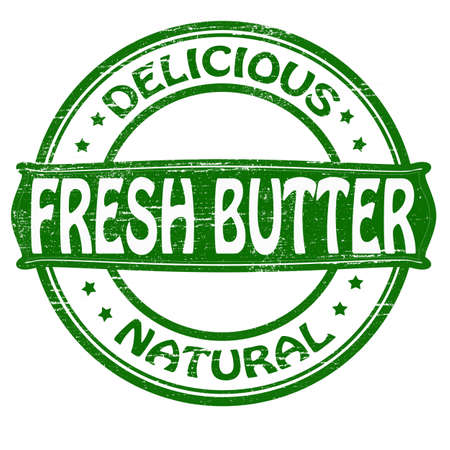 dewy: Stamp with text fresh butter inside,vector illustration
