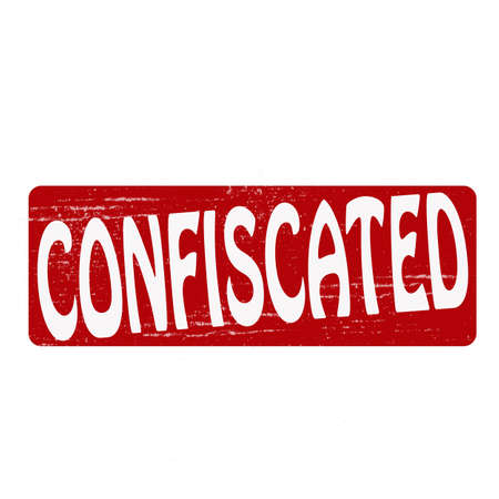 sequester: Stamp with word confiscated inside, vector illustration