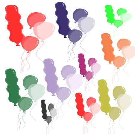 Balloons in different colors and size,set vector illustration Vector