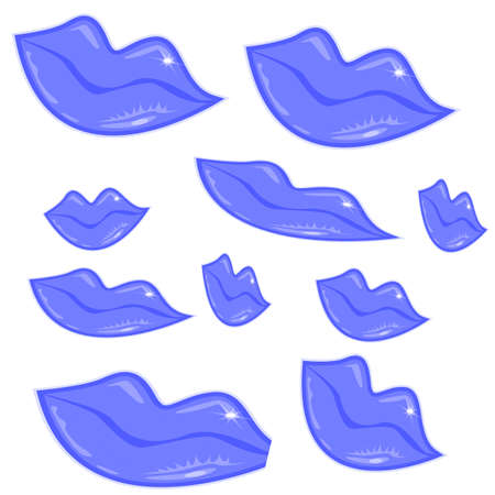 sip: Blue lips in different size and form, vector illustration