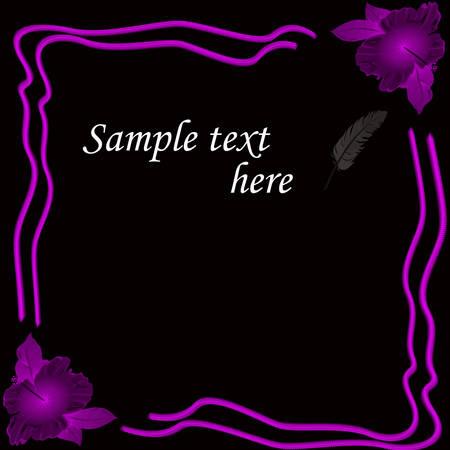 Black background with floral design and sample text inside, vector illustration