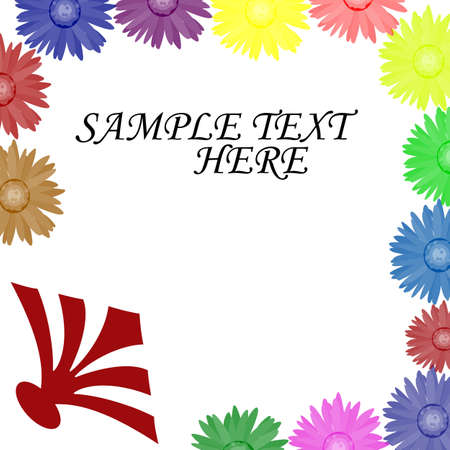 White background with flowers of different colors, vector illustration Illustration