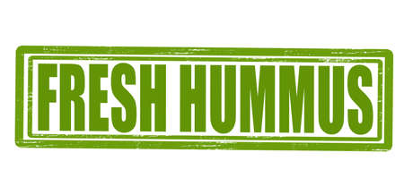 dewy: Stamp with text fresh hummus inside, vector illustration