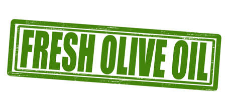 dewy: Stamp with text fresh olive oil inside, vector illustration
