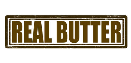 Stamp with text real butter inside, vector illustration