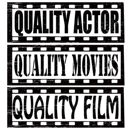 feature film: Set of stamps with text quality actor,quality movies and quality film inside, vector illustration