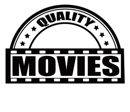 feature films: Stamp with text quality movies inside, vector illustration