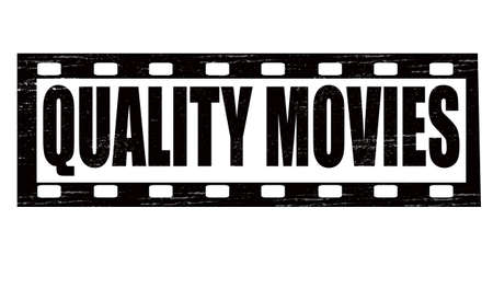 feature film: Stamp with text quality movies inside, vector illustration
