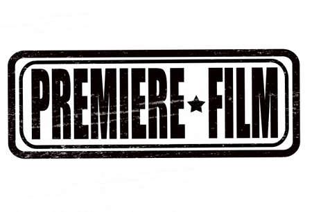 첫날: Stamp with text premiere film inside, vector illustration