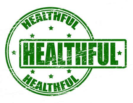 healthful: Sello con la palabra en el interior saludable, ilustraci�n vectorial