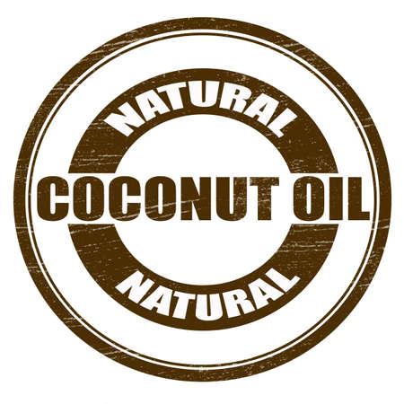 descuidado: Selo com texto óleo de coco natural aqui dentro, ilustração vetorial Ilustração