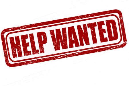 help wanted sign: Sello con texto de ayuda quer�a dentro, ilustraci�n vectorial Vectores