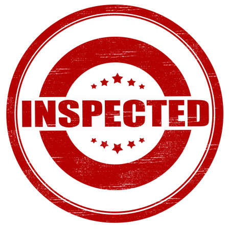inspected: Stamp with word inspected inside, vector illustration