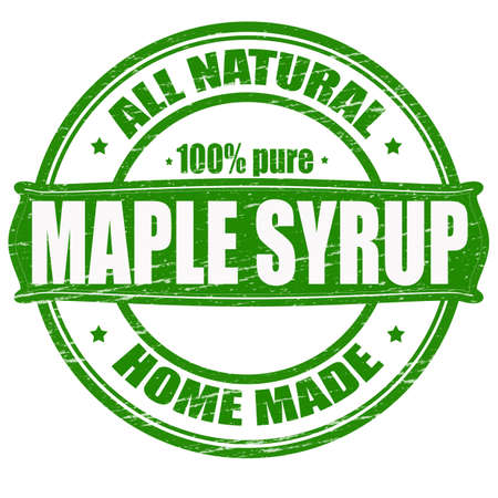 maple syrup: Sello con el jarabe de arce texto dentro, ilustraci�n vectorial