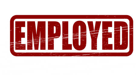 employed: Stamp with word employed inside, vector illustration Illustration