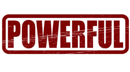 potent: Stamp with word powerful inside, vector illustration