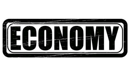 thrift: Sello con la palabra econom�a interior, ilustraci�n vectorial