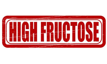 fruttosio: Timbro con il testo ad alto fruttosio dentro, illustrazione vettoriale
