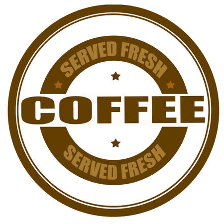 dewy: Stamp with text served fresh coffee inside, vector illustration