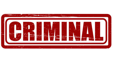 perpetrator: Stamp with word criminal inside, vector illustration