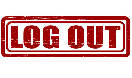 log out: Stamp with text log out inside, vector illustration