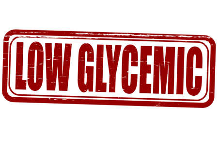 glycemic: Stamp with text low glycemic inside, vector illustration Illustration