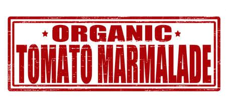 marmalade: Timbro con testo di pomodoro marmellata dentro, illustrazione