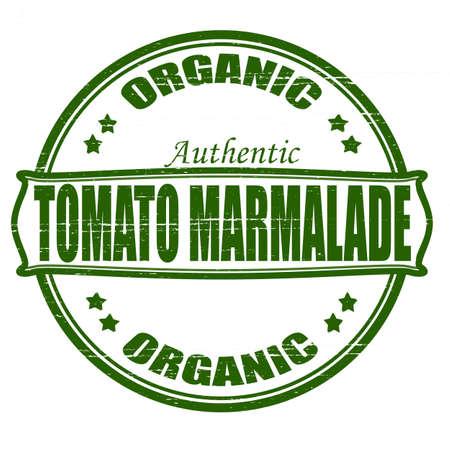 marmalade: Timbro con il testo organico marmellata di pomodoro dentro, illustrazione vettoriale