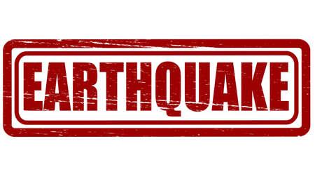 convulsion: Sello con el terremoto palabra interior, ilustraci�n vectorial