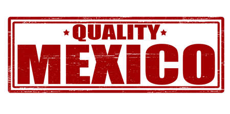 virtue: Stamp with text quality Mexico inside, vector illustration Illustration