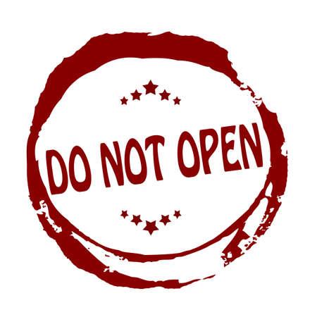 not open: Timbro con il testo non aprire dentro, illustrazione vettoriale Vettoriali