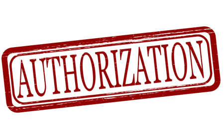 authorization: Stamp with word authorization inside, vector illustration