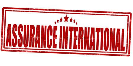 reassurance: Sello con el interior internacional de aseguramiento de texto, ilustraci�n vectorial