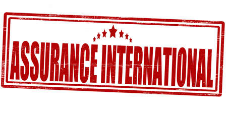 ensuring: Stamp with text assurance international inside, vector illustration