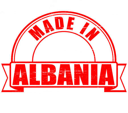 albania: Stamp with text made in Albania inside, vector illustration Illustration