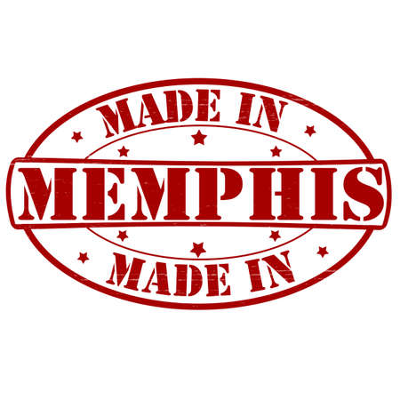 memphis: Stamp with text made in Memphis inside, vector illustration